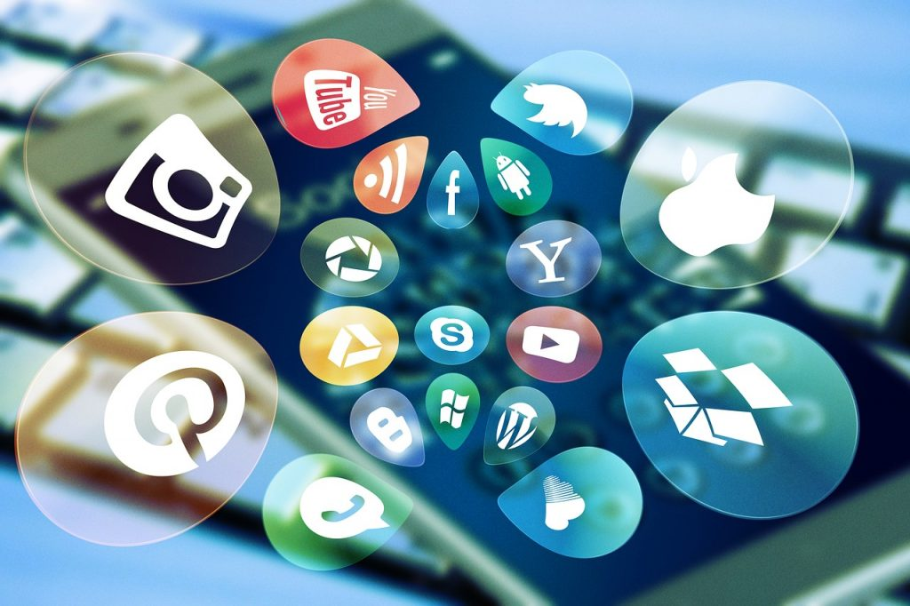 Icons of social media and other apps