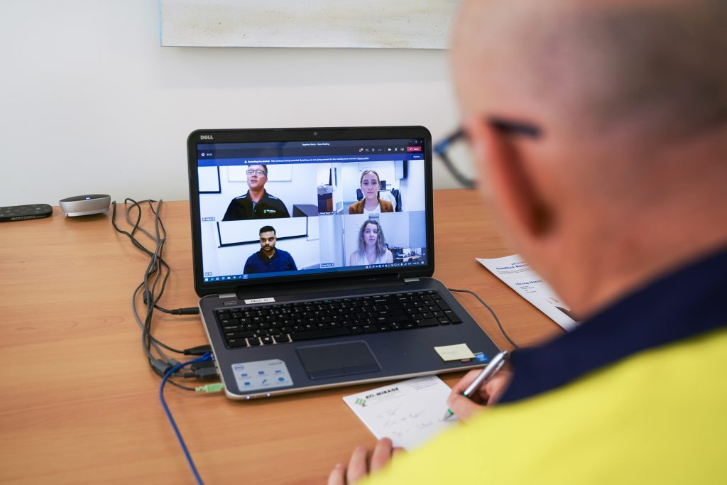 A person at ATI-Mirage facilities engaged in virtual training.