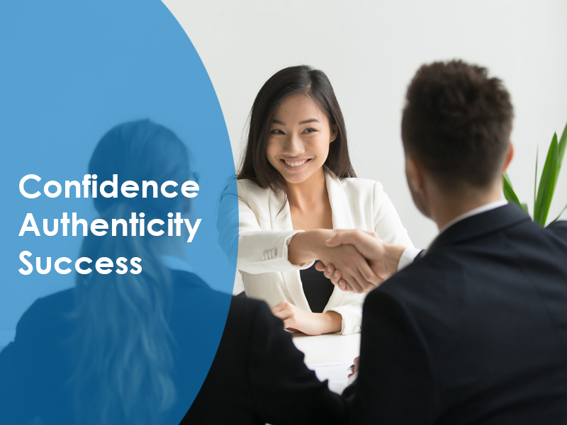 2 people shaking hand with another person watching and the words confidence, authenticity, success written next to them representing job interview skills training