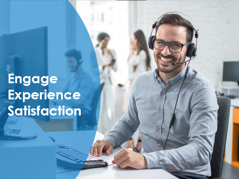 A customer service representative with headset on sitting at the computer with the words engage, experience and satisfaction written next to them representing customer service training