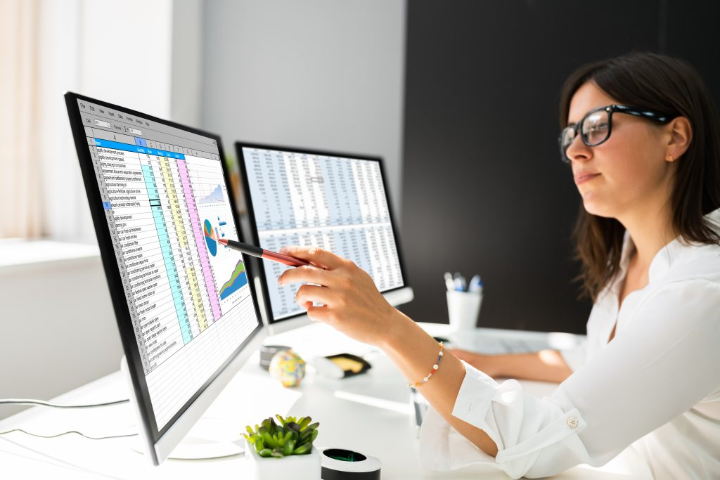 A person sitting at a computer during Excel training