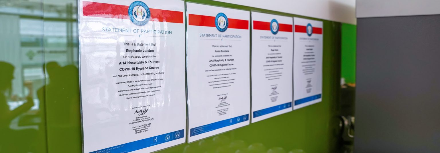 Four COVID-19 Hygiene Course Certificates completed by ATI-Mirage staff